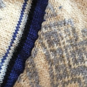 hand knit Sweaters - Icelandic hand knit wool sweater/ivory/blue/M?L?