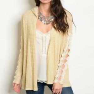 Sweaters - SALE Hooded Cardigan with Lace Sleeves NWT