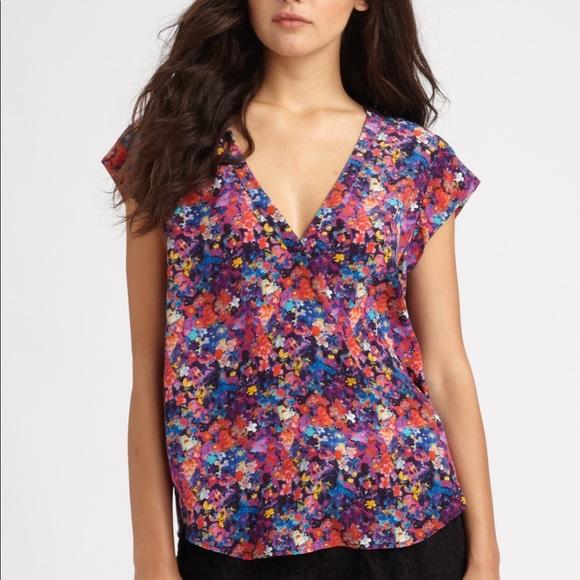 0b031274284d Joie Tops | Floral Silk Short Sleeve Blouse | Poshmark