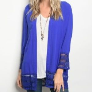 Sweaters - SALE L/S  Knit Cardigan with Lace Trim NWT