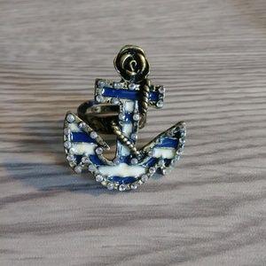 Betsey Johnson Adjustable Anchor Sailor Ring