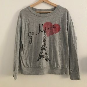 "Tops - Grey ""je t'aime"" Eiffel Tower sweatshirt"
