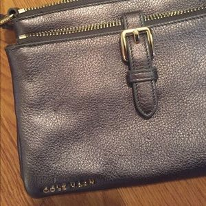 NWOT Cole Haan metallic gray leather crossbody