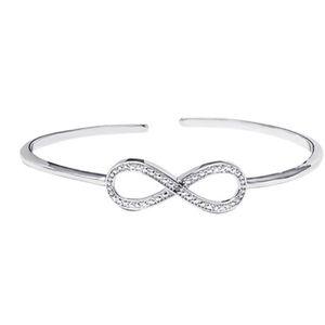 Diamond & Silvertone Infinity Cuff