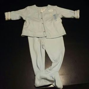 3-6 Baby blue and white jacket and footed pant set