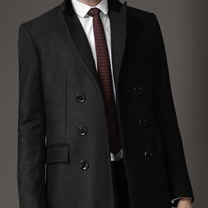 Men's Burberry Black Virgin Wool Top Coat