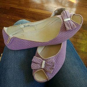 Vintage Lavender Polka Dots Bow Shoes