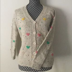 Beige Multicolor Heart Sweater Cardigan