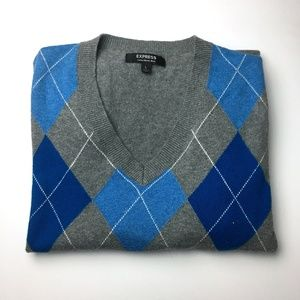 EXPRESS  VNeck Merinos Wool Knit Sweater sz L