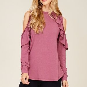 NWT RUFFLED DETAIL COLD SHOULDER MAUVE TOP