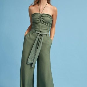 Anthropologie Maeve Ruffle Halter Top Moss Green
