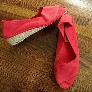 Vintage Red Fabric Sandal Wedges Shoes