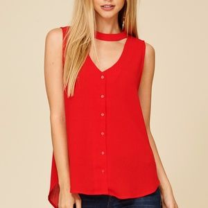 NWT CHOKER COLLAR BUTTON DOWN RED TOP stitch fix