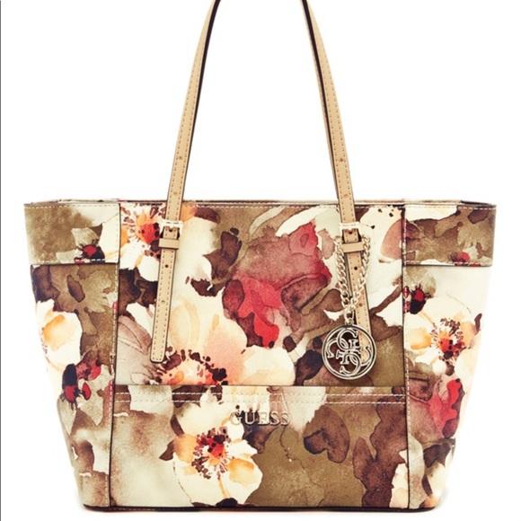 b00b52a63444 Guess Handbags - Guess Delaney Floral Classic Tote