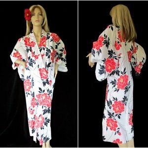 Vintage Hawaiian Print Cotton Kimono Robe
