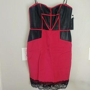 Aidan Mattox Red Black Panel Leather Dress