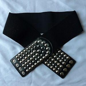 Accessories - Vintage 80s Silver Studded Wide Stretch Black Belt