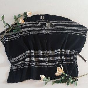 NWT BCBG Black & Gray Striped Blanket Poncho
