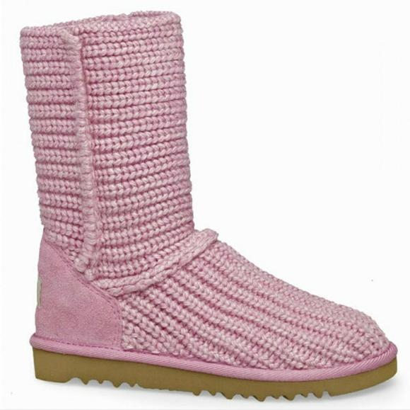 268308b3e4e UGG Pink Classic Cardy Crochet Knit Boot