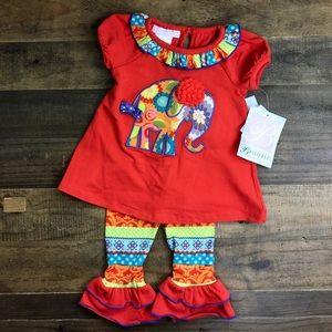 Bonnie Baby 2Piece Orange Elephant Baby Girls 12M