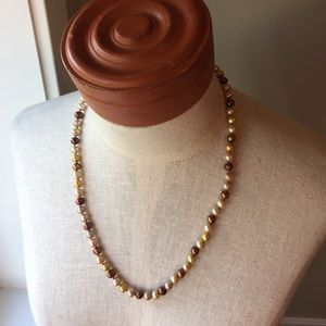 Pearl Style Necklace in Cream, Brown & yellow