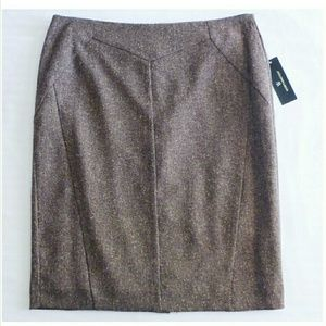 Worthington Women's Sz 8 Brown Tweed Pencil Skirt