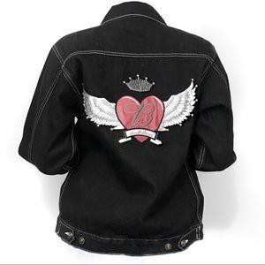 Vintage Budweiser embroidered black denim jacket
