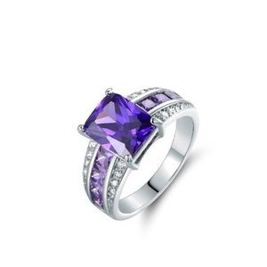 Stunning Cubic Zirconia Radiant Cut Ring