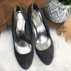 BODEN gray suede heels size 9.5 EUC