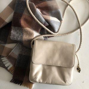 Dana Buchman cream leather crossbody purse