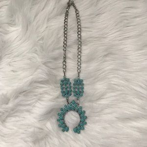 Jewelry - Turquoise colored Squash Blossom Necklace
