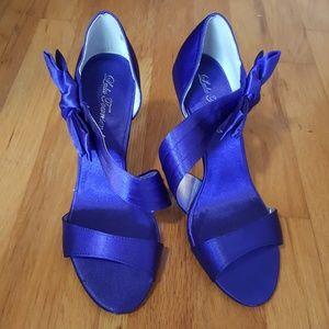Royal blue satin dress heels