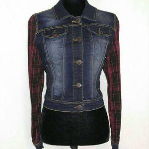 Jackets Coats Red Plaid Flannel Sleeve Jean Jacket Poshmark