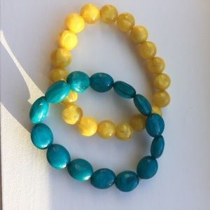 Yellow and Teal  Beaded bracelets