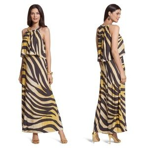 Chico's Golden Zebra Print Maxi Dress 1 Halter