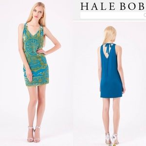 Hale Bob Lania Silk Velvet Dress Lime Burnout