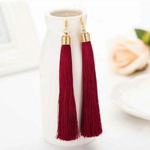 Jewelry - 5 for $25/Burgundy OR Purple Tassel Gold Earrings