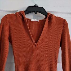 Rebecca Beeson Orange Thermal V-Neck Hoodie