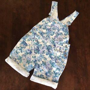 Vintage squeeze 90's Blue floral short overalls