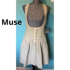 Muse Neiman Marcus Herringbone Pinafore Dress 10