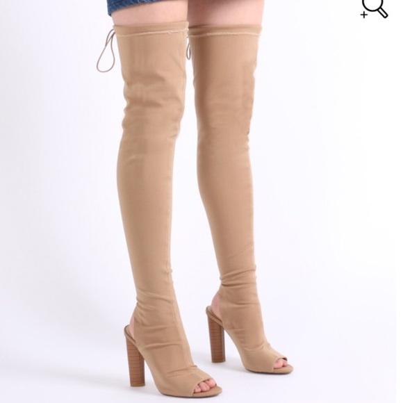 098bdf260e5 Thigh High Nude Open Toe Boots