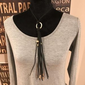Jewelry - Black Suede and Gold Tassel Necklace