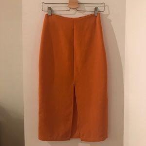 Topshop orange midi skirt w split front
