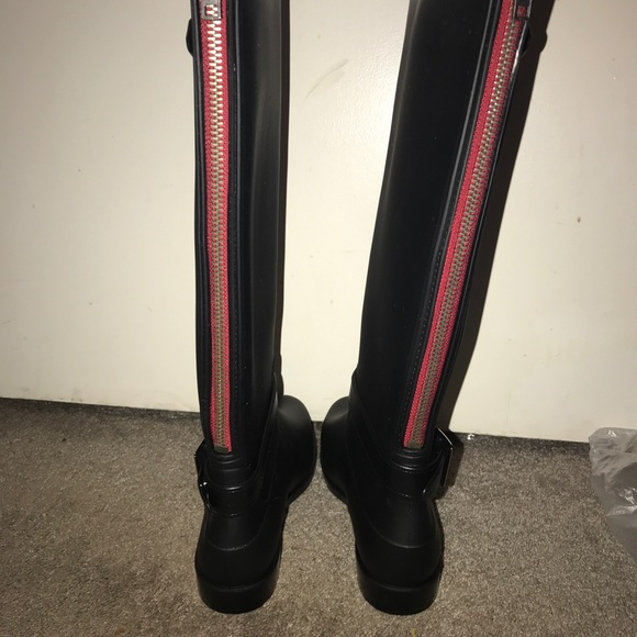 dc7209702 Shoes | Black Rain Boots With Red Zipper Detailing | Poshmark