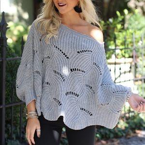 Sweaters - Gray Scalloped Sweater