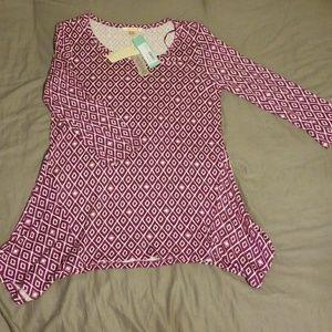 Purple & White half sleeve top
