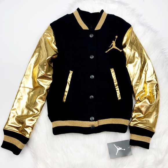 c69af39b0899f0 NWT Girls Jordan Metallic Gold Varsity Jacket