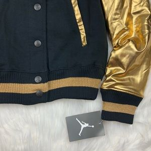 5ff16d6fe4aacf Air Jordan Jackets   Coats - NWT Girls Jordan Metallic Gold Varsity Jacket