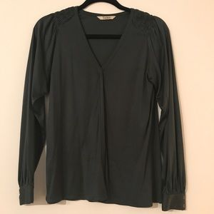 Long Sleeve Hunter Green Tucker Blouse