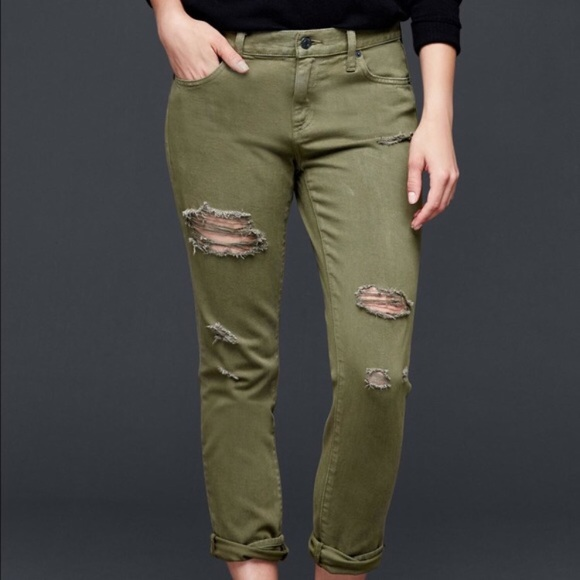 "GAP Denim - {Gap 1969} Distressed Olive ""Girlfriend"" Jean"